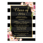 Class of 2016 Graduation Classy Floral Stripes Card