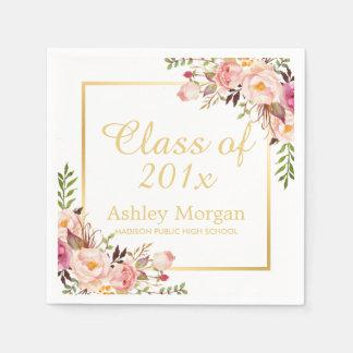 Class of 2016 Graduation Elegant Gold Chic Floral Napkin