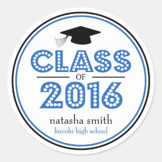 Class Of 2016 Graduation Favor (Blue / Black) Classic Round Sticker
