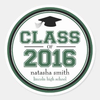 Class Of 2016 Graduation Favor (Emerald / Black) Classic Round Sticker