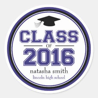 Class Of 2016 Graduation Favor (Navy Blue / Black) Classic Round Sticker