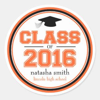 Class Of 2016 Graduation Favor (Orange / Black) Classic Round Sticker