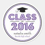 Class Of 2016 Graduation Favor (Purple / Black) Classic Round Sticker