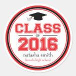Class Of 2016 Graduation Favor (Red / Black) Classic Round Sticker