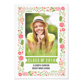 Class of 2016 graduation floral border photo card
