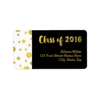 Class of 2016 Graduation Gold Black Address Labels
