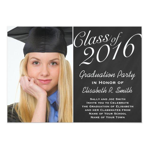 Class of 2016 Graduation Party Chalkboard Portrait 5x7 Paper Invitation Card