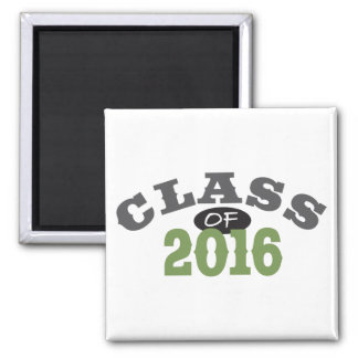Class Of 2016 Green 2 Inch Square Magnet