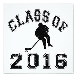 Class of 2016 Hockey 5.25x5.25 Square Paper Invitation Card