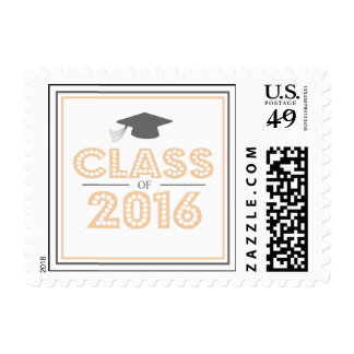 Class Of 2016 In Lights (Peach / Gray) Postage Stamp