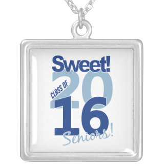 Class of 2016 necklace, customizable square pendant necklace
