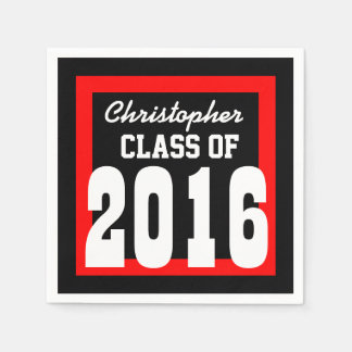 Class of 2016 or Any Year Graduation V03 RED Napkin