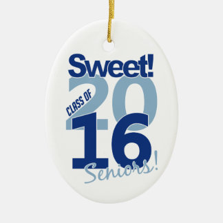Class of 2016 ornament, customizable Double-Sided oval ceramic christmas ornament
