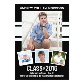 Class of 2016 Photo Collage Sport Graduation Party Card