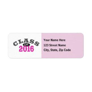 Class Of 2016 Pink Return Address Label