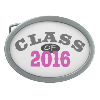 Class Of 2016 Pink Oval Belt Buckle