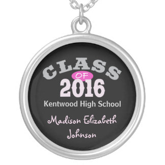 Class Of 2016 Pink Silver Plated Necklace