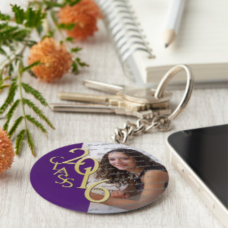 Class of 2016 Purple and Gold Photo Keychain