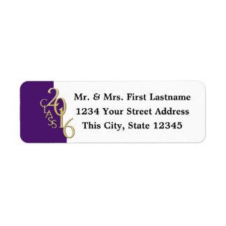 Class of 2016 Purple Gold Graduation Label