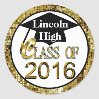 Class Of 2016 Sparkling Gold Graduation Seals Classic Round Sticker