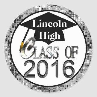Class Of 2016 Sparkling Silver Graduation Seals Classic Round Sticker