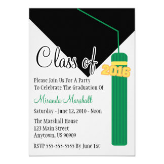 Class Of 2016 Tassel Graduation Invite (Green)