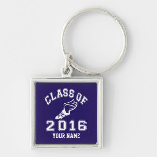 Class of 2016 Track & Field Silver-Colored Square Keychain