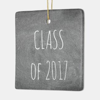 Class of 2017 Black Grey Chalkboard Blackboard Ceramic Ornament