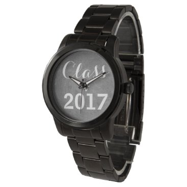 Beach Themed Class of 2017 Black White Chalkboard Typography Watches