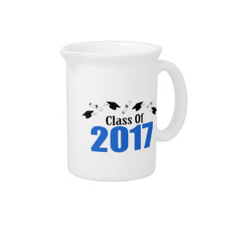 Class Of 2017 Caps And Diplomas (Blue) Drink Pitcher