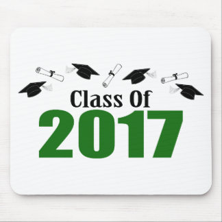 Class Of 2017 Caps And Diplomas (Green) Mouse Pad