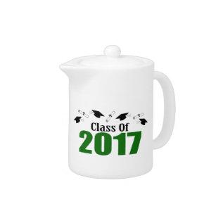 Class Of 2017 Caps And Diplomas (green) Teapot at Zazzle