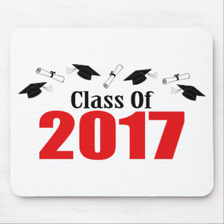 Class Of 2017 Caps And Diplomas (Red) Mouse Pad