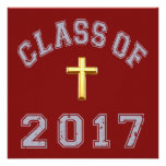 Class Of 2017 Christian Cross - grey 2 Personalized Invite