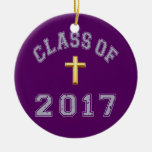 Class Of 2017 Christian Cross Grey 2 Christmas Ornaments