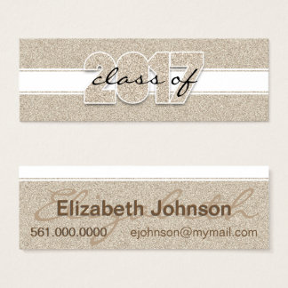 Class of 2017 Faux Gold Glitter Contact Mini Business Card