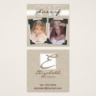Class of 2017 Faux Gold Glitter Contact Square Business Card