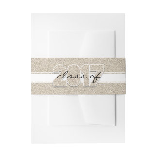 Class of 2017 Faux Gold Glitter Sparkle Modern Invitation Belly Band
