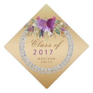 Class of 2017 Flowers Diamonds Gold Graduation Graduation Cap Topper
