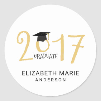 Class of 2017, Gold and Black Personalized Classic Round Sticker