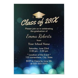 Class of 2017 Gold Grad Cap Modern Graduation Card