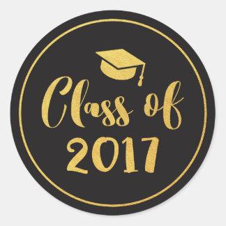 Class of 2017 Gold Script Circle Graduation Favor Classic Round Sticker