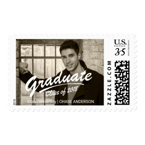 Class of 2017 Graduate Photo Bold Brush Strokes Postage