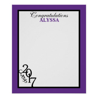 Class of 2017 Graduation Autograph Keepsake Purple Poster