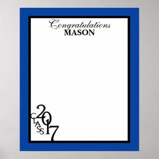 Class of 2017 Graduation Blue Autograph Keepsake Poster