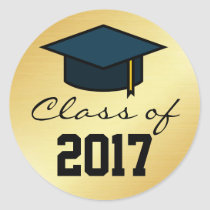 Class of 2017 Graduation Cap Sticker, Gold Black Classic Round Sticker