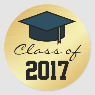 Class of 2017 Graduation Cap Sticker, Gold Black Classic Round Sticker