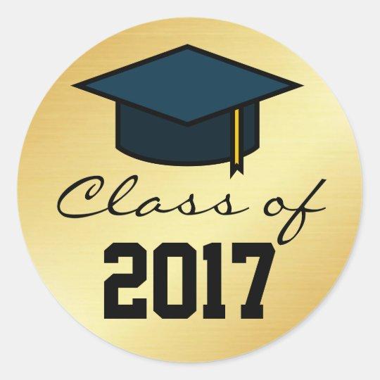 Class of 2017 graduation cap sticker gold black classic round sticker