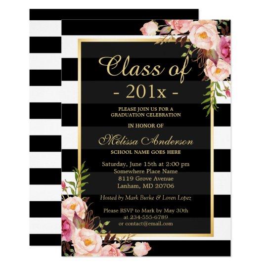 Class of 2017 Graduation Classy Floral Stripes Card – Zazzle Graduation Invitations