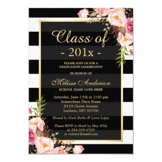 Class of 2017 Graduation Classy Floral Stripes Card at Zazzle